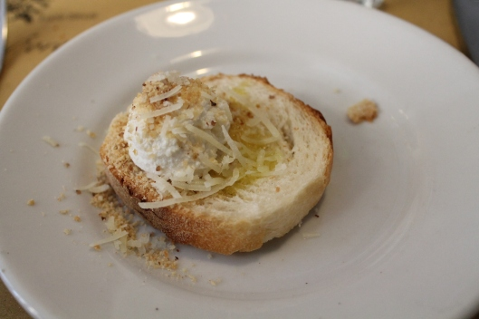 Crostino with ricotta and pecorino.