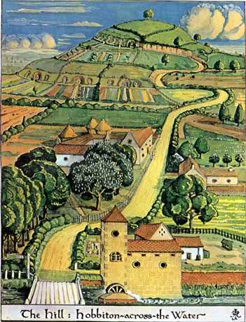 The Shire, painted by JRR Tolkien himself.