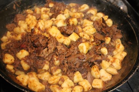 Gnocchi sauced with lamb ragu.