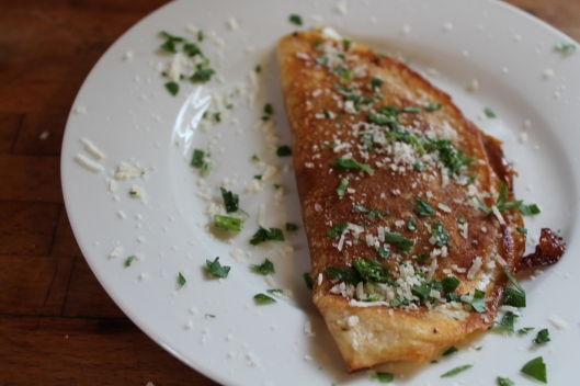 Crepe with mozzarella and prosciutto.
