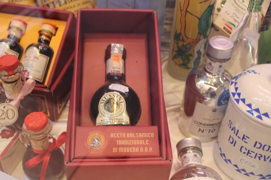 Authentic aceto balsamico tradizionale, always sold in perfume sized bottles, and always for about $100 US dollars.